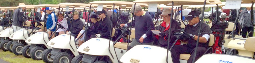 Golfers in carts ready to start the Ottawa Rotary Home golf-a-thon.